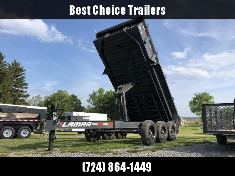"2019 Lamar 7x16' Dump Trailer 21000# GVW * TARP * RAMPS * DUAL 12K JACKS * REAR SUPPORT STANDS * 12"" O.C. CROSSMEMBERS * SPARE MOUNT * OIL BATH HUBS"