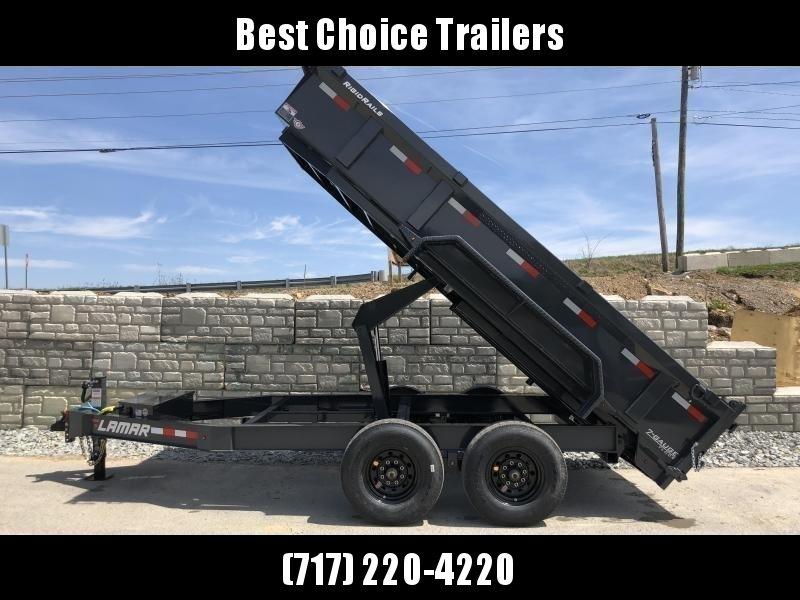 2019 Lamar 7x12' Dump Trailer 14000# GVW * 14-PLY RUBBER * 7GA FLOOR * TARP * RAMPS * SPARE MOUNT * 12K JACK * CHARCOAL WITH BLACK WHEELS