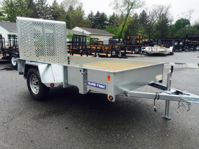 2018 Sure-Trac 5x8' Galvanized High Side Landscape Utility Trailer 2990# GVW * CLEARANCE - FREE ALUMINUM WHEELS