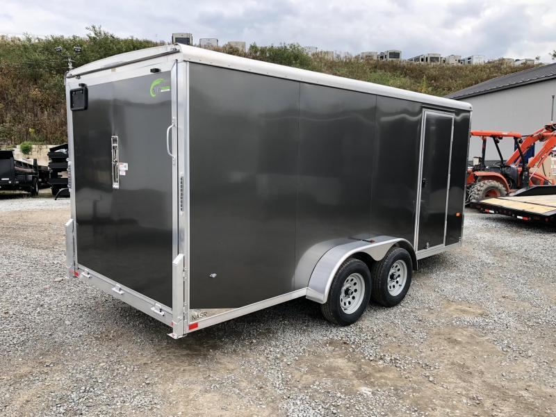 """2019 Neo 7x20' Aluminum Enclosed All-Sport Trailer * CHARCOAL * FRONT RAMP * NXP LATCHES * FLOOR TIE DOWN SYSTEM * REAR JACKSTANDS * UPGRADED 16"""" OC FLOOR * UPPER CABINET * UTV * ATV * Motorcycle * Snowmobile"""