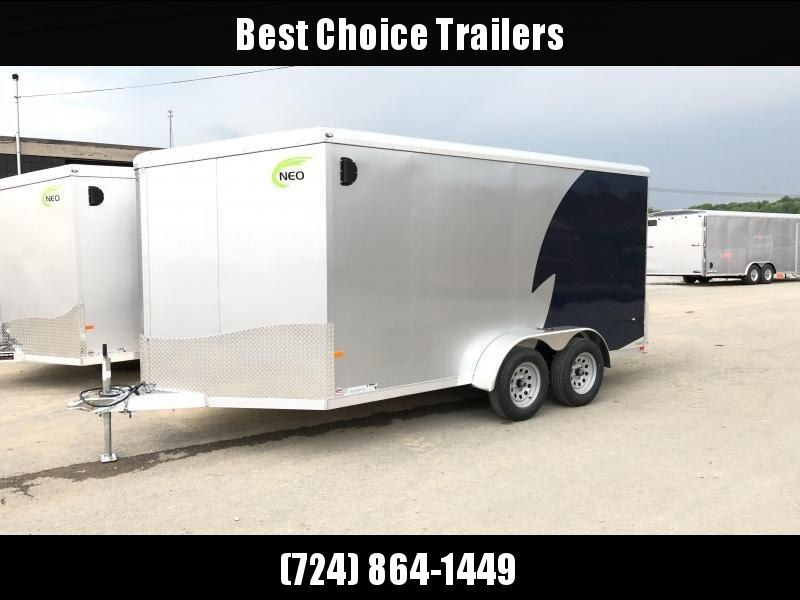 "2019 NEO Trailers 7X16' NAMR Aluminum Enclosed Motorcycle Trailer * INDIGO & SILVER * VINYL WALLS * ALUMINUM WHEELS * +6"" HEIGHT"