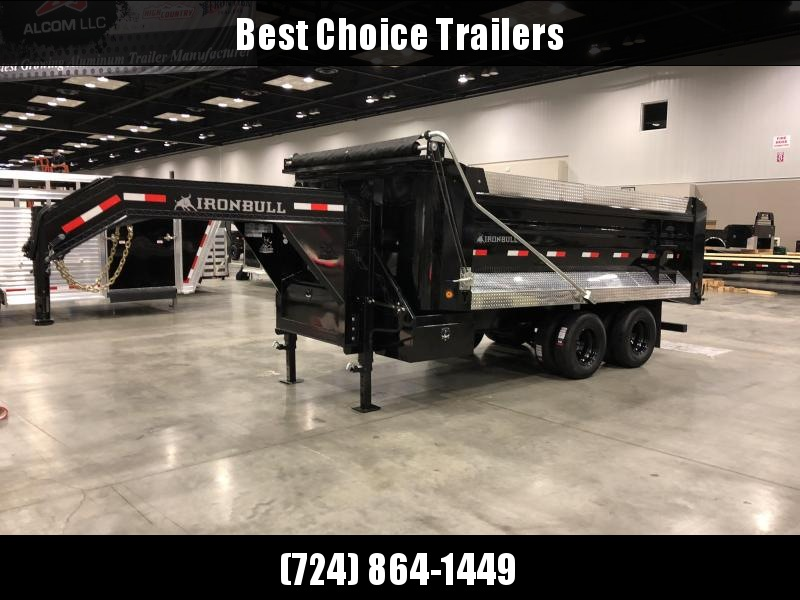 2018 Ironbull Gooseneck Dump Trailer 8x16' 22000# GVW Frankendump * DELUXE TARP * BLACK WHEEL * ATP PACKAGE * SIDE EXTENSIONS