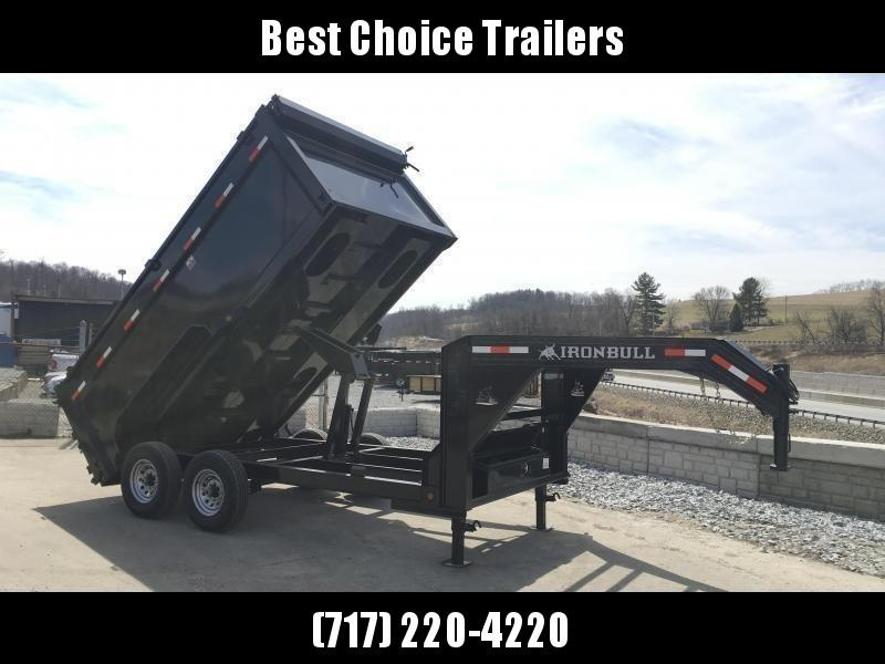 2018 Iron Bull 7x16' Gooseneck Dump Trailer 21000# GVW - 4' HIGH SIDES * UPGRADED HOIST * TARP KIT * SPARE TIRE