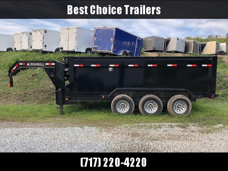 2018 Iron Bull 7x16' Gooseneck Dump Trailer 21000# GVW - 4' HIGH SIDES * UPGRADED HOIST * TARP KIT * SPARE TIRE
