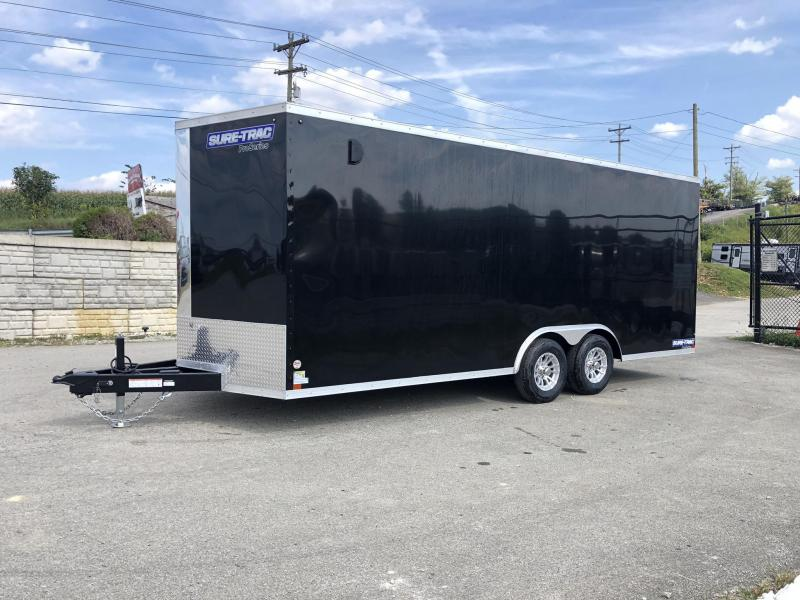 "2019 Sure-Trac 8.5x20' Enclosed Car Trailer 9900# GVW * BLACK * 7' INSIDE HEIGHT * 7000# DROP LEG JACK * SCREWLESS * 48"" DOOR * ALUMINUM WHEELS"