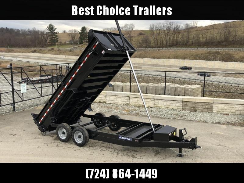 2019 Sure-Trac 7x16' LowPro HD Dump Trailer 16000# GVW * 8K AXLE UPGRADE * TELESCOPIC HOIST
