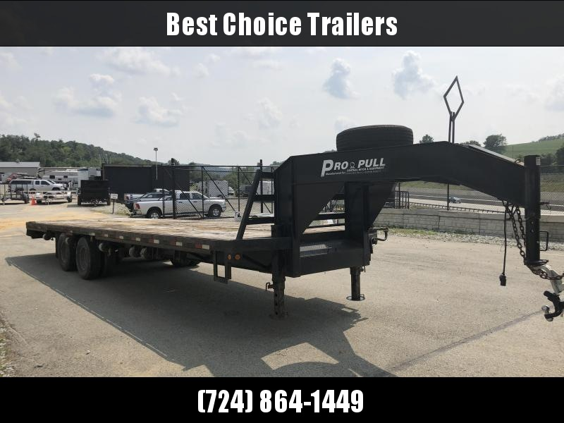 """USED 2009 Central 102""""x30' Gooseneck Deckover Flatbed 23000# GVW - Electric over Hydraulic Brakes"""