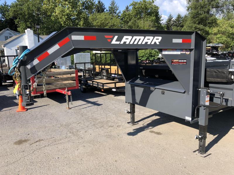 2018 Lamar 8x16' Gooseneck Deckover Dump Trailer 14000# GVW - FOLD DOWN SIDES * CHARCOAL