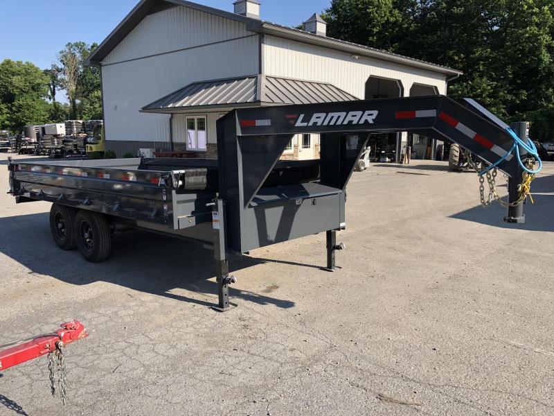 2018 Lamar 8x16' Gooseneck Deckover Dump Trailer 14000# GVW - FOLD DOWN SIDES * CHARCOAL * CLEARANCE - FREE ALUMINUM WHEELS