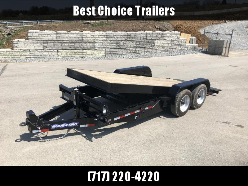 2018 Sure-Trac 7x18' Gravity Tilt Equipment Trailer 16000# GVW - 8000# AXLES