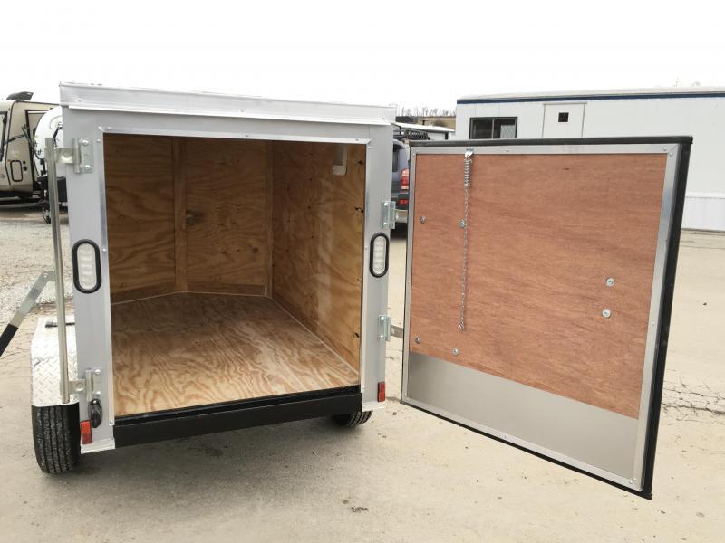 2019 Rock Solid 4x6' Enclosed Cargo Trailer 2000# GVW RS406SA * SILVER * SINGLE SWING DOOR * V-NOSE