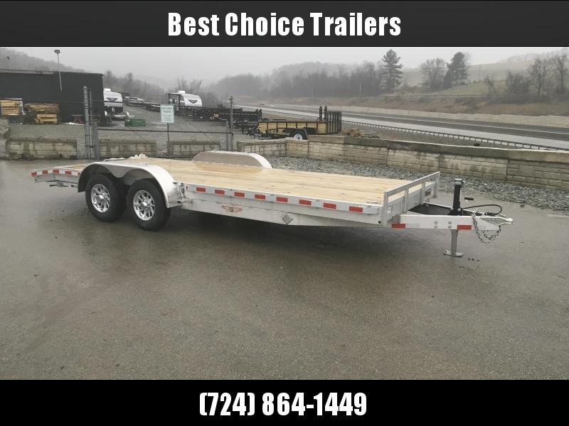 2018 H&H 7x18' Aluminum Car Trailer 9990# GVW * TORSION DROP AXLES * SWIVEL D-RINGS * EXTRA STAKE POCKETS  * ALUMINUM WHEELS