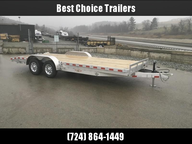 2018 H&H 7x18' Aluminum Car Trailer 9990# GVW * TORSION DROP AXLES * SWIVEL D-RINGS * EXTRA STAKE POCKETS  * ALUMINUM WHEELS * CLEARANCE