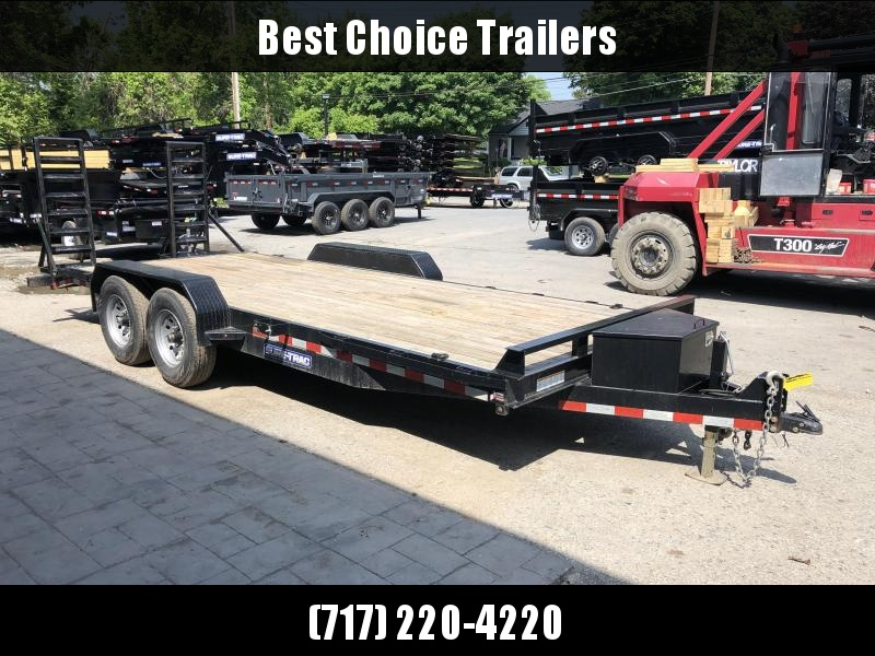 USED 2016 Sure-Trac Implement 7'x20' Equipment Trailer 14000# GVW * TOOLBOX * EXTRA D-RINGS * NEW TIRE & WHEELS