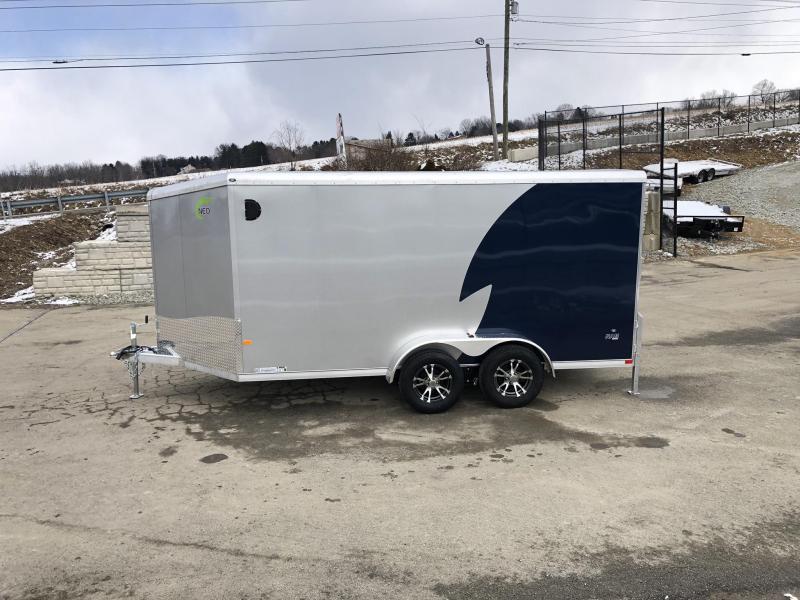 "2019 NEO Trailers 7X14' NAMR Aluminum Enclosed Motorcycle Trailer * INDIGO & SILVER * VINYL WALLS * ALUMINUM WHEELS * +6"" HEIGHT"