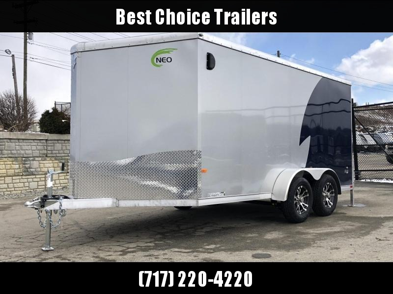 "2019 NEO Trailers 7X14' NAMR Aluminum Enclosed Motorcycle Trailer * INDIGO & SILVER * VINYL WALLS * ALUMINUM WHEELS * +6"" HEIGHT"