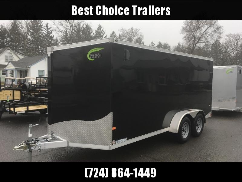 2019 Neo 7x16 NAVF Aluminum Enclosed Cargo Trailer * RAMP DOOR * BLACK * SIDE VENTS