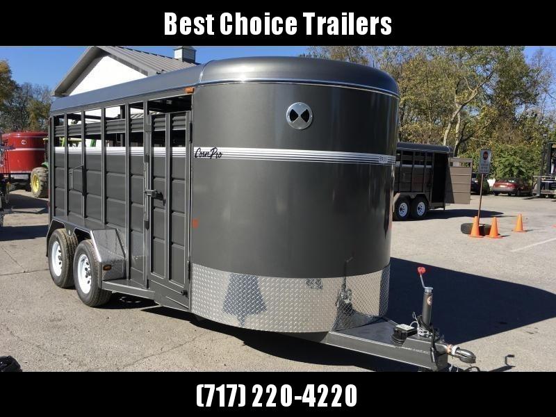 2018 Corn Pro 16' Livestock Trailer 7000# GVW * GREY * CLEARANCE - FREE ALUMINUM WHEELS in Ashburn, VA