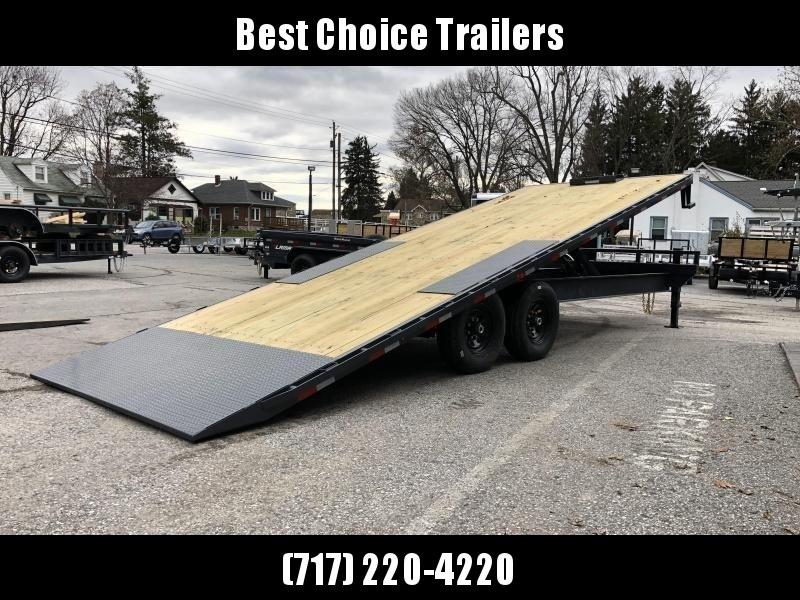 USED 2017 Lamar 102x24' Power Tilt Deckover Trailer 14000# GVW * SCISSOR HOIST * SIDE & FRONT TOOLBOXES  * SPARE TIRE * HD BED FRAME