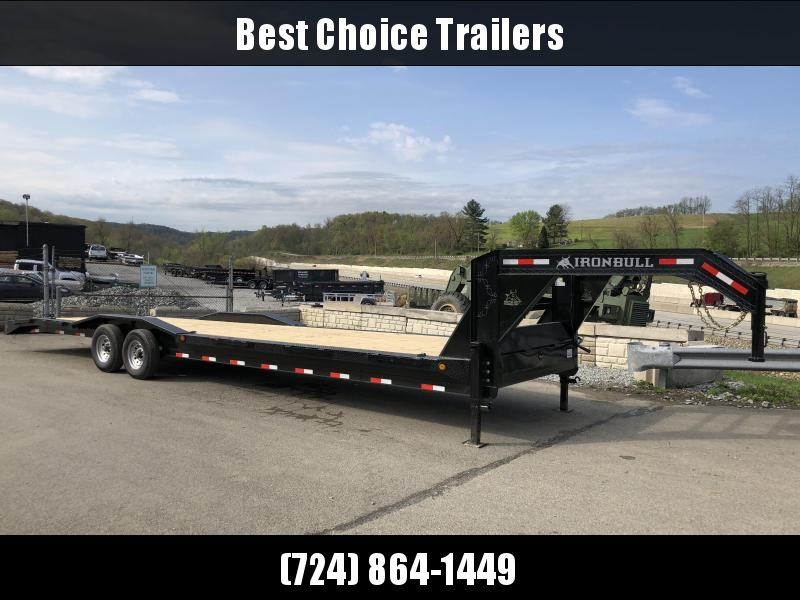 "2018 Ironbull 102x34' Gooseneck Car Hauler Equipment Trailer 14000# GVW * 102"" Deck * Drive Over Fenders * Extended 4' dovetail * Winch plate"