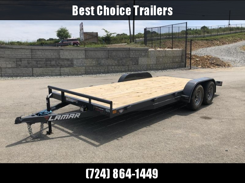 2018 Lamar 7x18 7000# Wood Deck Car Hauler Trailer * REMOVABLE FENDERS * EXTRA STAKE POCKETS * CHARCOAL