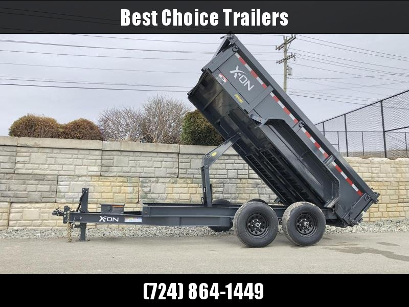 2019 X-on 6X12' Low Profile Dump Trailer 9990# GVW * I-BEAM FRAME * 7GA FLOOR * TARP KIT * SCISSOR * 3 WAY GATE * 2' SIDES * 110V CHARGER * ADJUSTABLE COUPLER * DROP LEG JACK