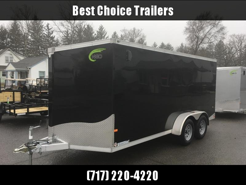 2019 Neo 7x16 NAVF Aluminum Enclosed Cargo Trailer * RAMP DOOR * BLACK