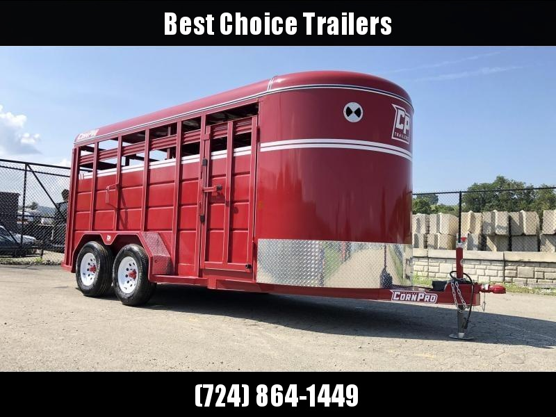 2019 Corn Pro 16' Livestock Trailer 7000# GVW * RED * TORSION