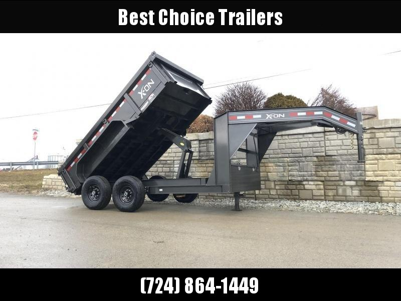 2019 X-on 7x14' Low Profile Gooseneck Dump Trailer 14000# GVW * 7 GA FLOOR * TARP KIT * SCISSOR * 3 WAY GATE * I-BEAM FRAME & NECK * FRONT TOOLBOX * DUAL JACKS