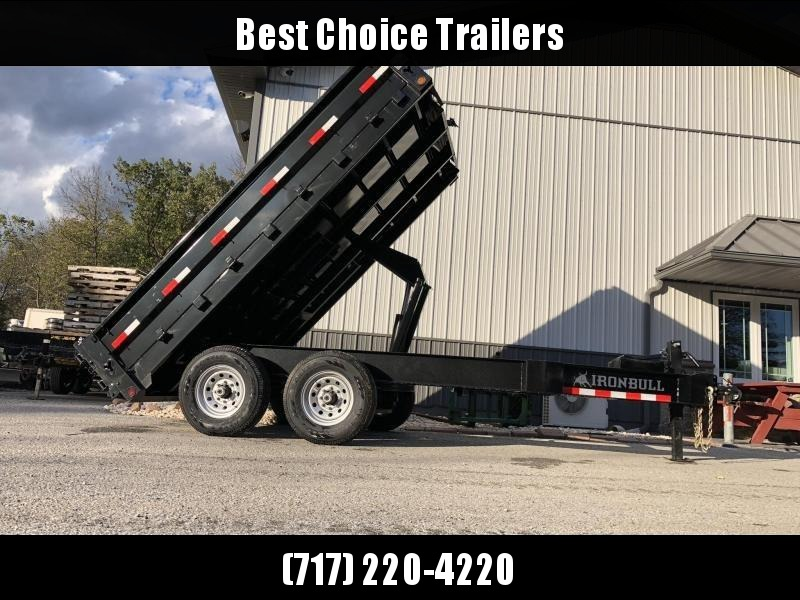2019 Iron Bull 8x12' 14000# GVW Deckover Dump Trailer * TARP KIT * OVERSIZE 5X20 SCISSOR HOIST * I-BEAM FRAME * 12K JACK * HD COUPLER * FOLD DOWN SIDES