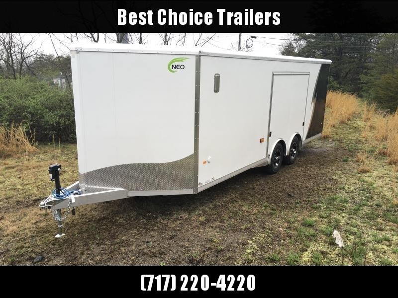 2019 NEO 8.5x22' NCBS Aluminum Spread Axle Round Top Enclosed Car Hauler Trailer 9990# GVW NCBS2285R6 * LOADED MODEL