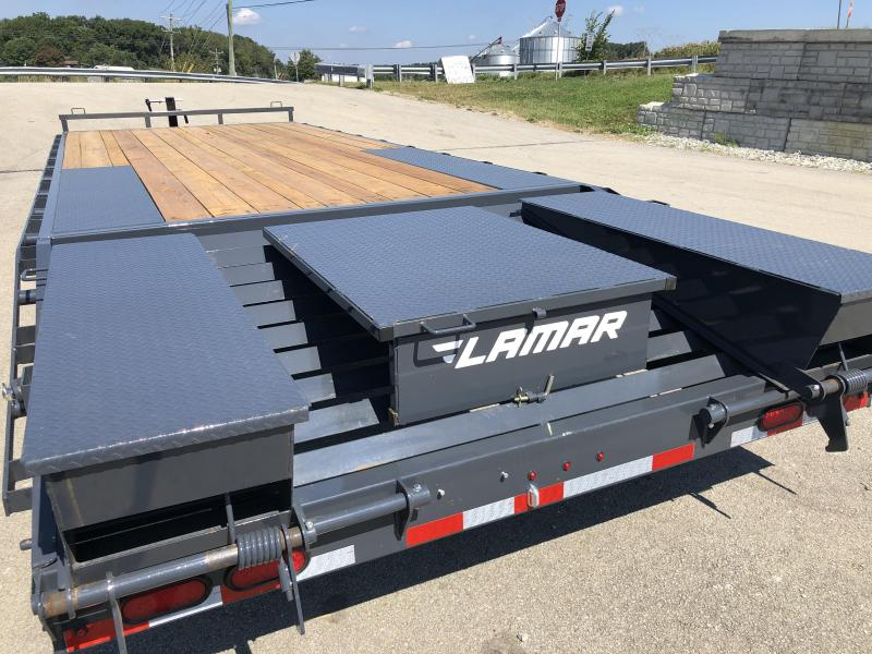 2019 lamar f8 102x24' beavertail deckover trailer 14000# gvw * flipover  ramps * charcoal