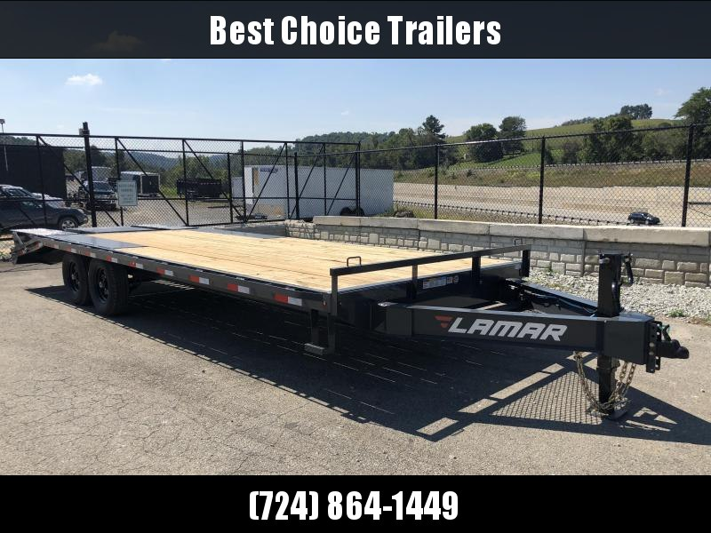 2019 Lamar F8 102x24' Beavertail Deckover Trailer 14000# GVW * FLIPOVER RAMPS * CHARCOAL * POP UP DOVE