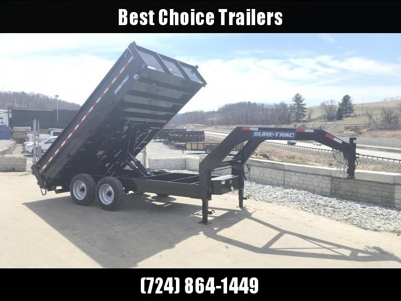 2019 Sure-Trac 8x16' HD Gooseneck Deckover Dump Trailer 14000# GVW - FOLD DOWN SIDES