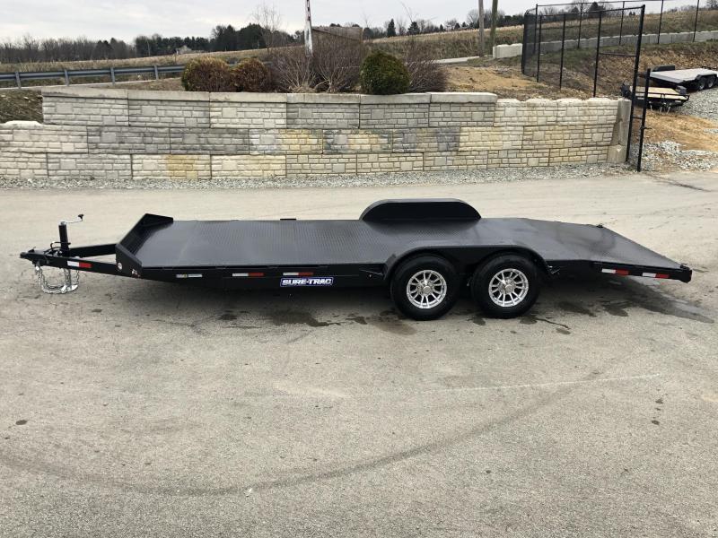 2019 Sure-Trac 7x18' Steel Deck Car Hauler 7000# GVW * 4' BEAVERTAIL - LOW LOAD ANGLE * ALUMINUM WHEELS * REMOVABLE FENDERS * WINCH PLATE