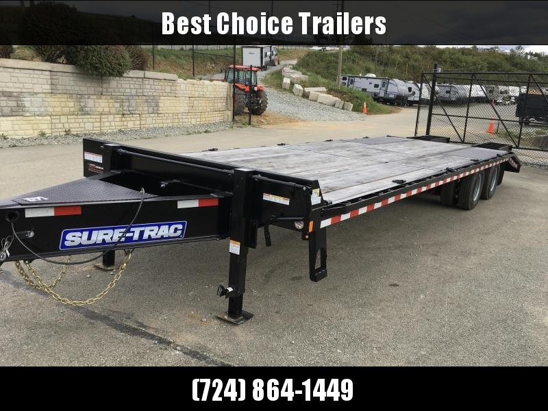2019 Sure-Trac 102x25+5' HD LowPro Beavertail Deckover 25990# GVW * OAK BEAVERTAIL/OAK DECK/OAK RAMPS * PAVER SPECIAL * 12K AXLES * HUTCH SUSPENSION * DUAL JACKS * MUD FLAPS * EXTRA D-RINGS * INTEGRATED TOOLBOX