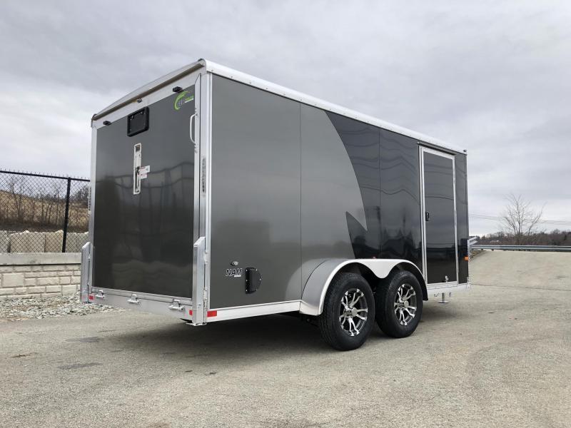 "2020 NEO Trailers 7x14' NAMR Aluminum Enclosed Motorcycle Trailer * BLACK & CHARCOAL * VINYL WALLS * ALUMINUM WHEELS * +6"" HEIGHT * NUDO FLOOR & RAMP"