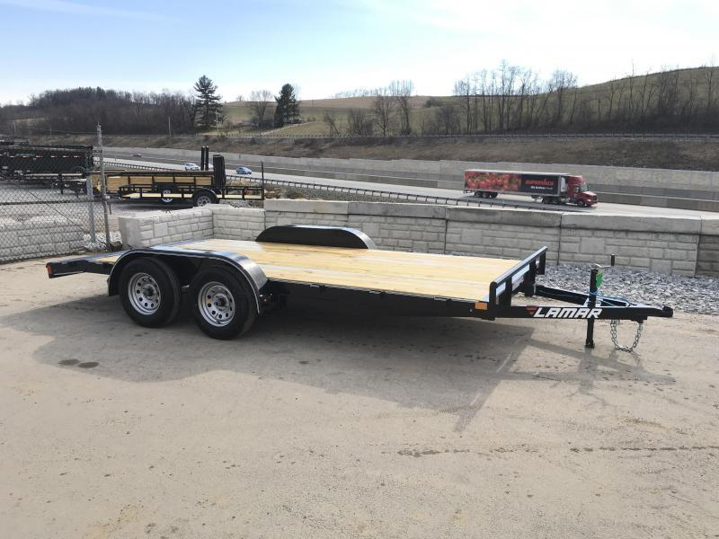 2019 Lamar 7x20 7000# Wood Deck Car Hauler Trailer * REMOVABLE FENDERS * EXTRA STAKE POCKETS * CHARCOAL