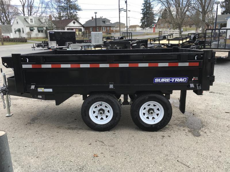 2018 Sure-Trac 6x10' SD Deckover Dump Trailer 9900# GVW * FOLD DOWN SIDES * HIGH SIDES * BARN DOORS * CLEARANCE - FREE ALUMINUM WHEELS