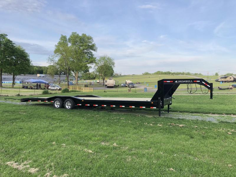 """2019 Ironbull 102x32' Gooseneck Car Hauler Equipment Trailer 14000# GVW * 102"""" Deck * Drive Over Fenders * FULL WIDTH RAMPS"""