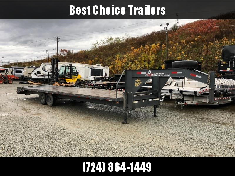 USED 2018 Reiser 102x32' Gooseneck Beavertail Deckover Flatbed 14000# Trailer * FULL WIDTH RAMPS * CHARCOAL GRAY * SPARE TIRE * DUAL JACKS * TOOLBOX