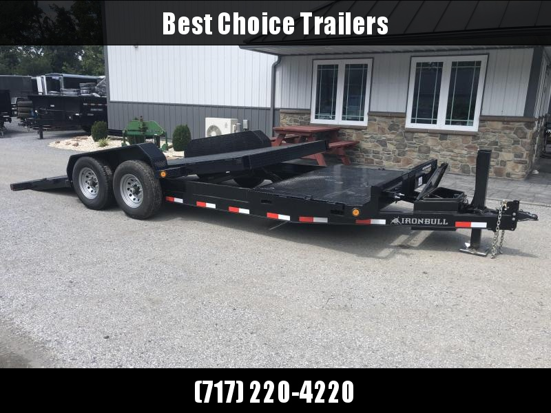 2019 Ironbull 7x16+4 POWER Tilt Equipment Trailer 14000# TORSION * STEEL DECK * FORKHOLDERS *  WINCH PLATE * HYDRAULIC JACK * 2ND TOOLBOX * EXTRA D-RINGS