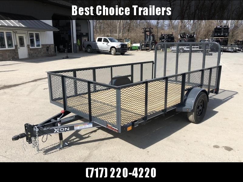 2019 X-on 7x12' Single Axle High Side Utility Landscape Trailer 2990# GVW * 2' HIGH SIDES * EXPANDED MESH SIDES * 4' HD GATE W/ SPRING ASSIST * CHARCOAL