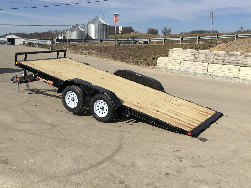 2018 H&H 7x18' MX Manual Tilt Car Hauler Trailer 7000# GVW  * CLEARANCE - FREE ALUMINUM WHEELS