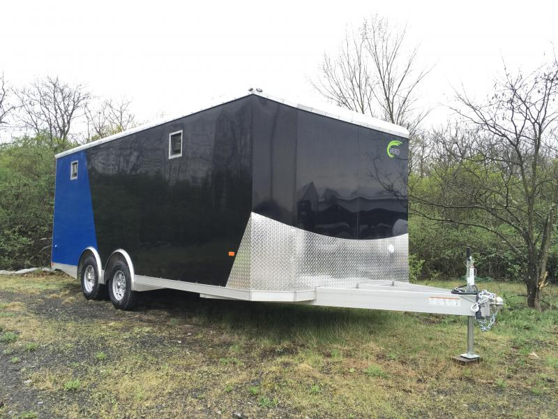 2018 NEO 8.5x20' NACX Aluminum Spread Axle Round Top Enclosed Car Hauler Trailer 9990# GVW * GENERATOR DOOR * VINYL CEILING * 4-LED STRIP LIGHT * A/C UNIT * 50 AMP ALEC * EXTRUDED FLOOR/RAMP