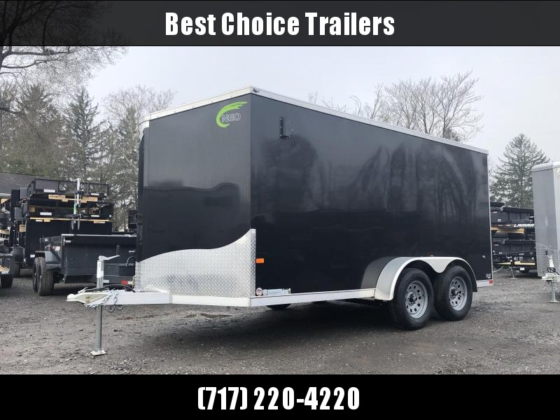 2019 Neo 7x14 NAVF Aluminum Enclosed Cargo Trailer * RAMP DOOR * BLACK * ALUMINUM WHEELS