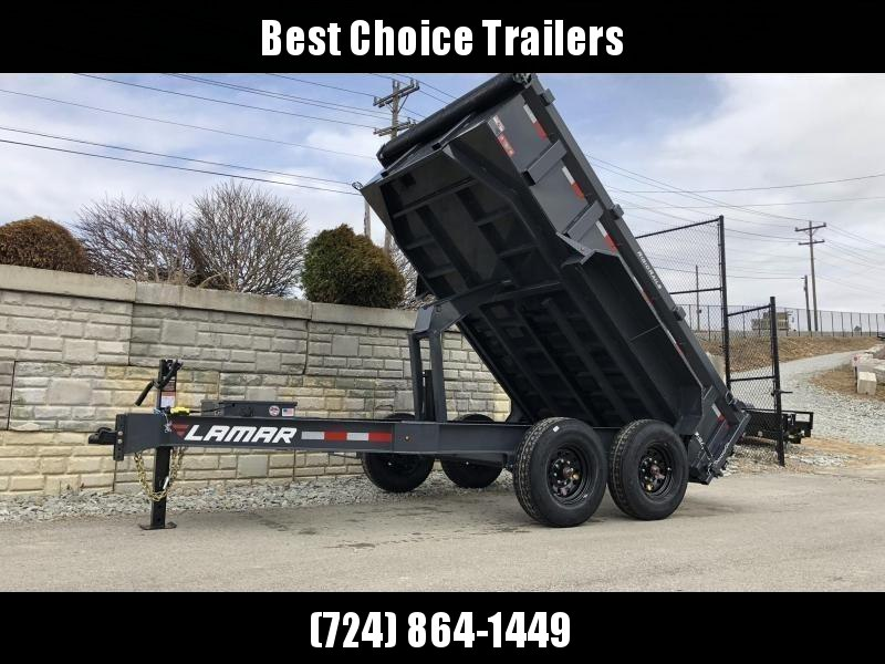 "2019 Lamar 7x12' Dump Trailer 14000# GVW * 14-PLY RUBBER * OIL BATH * REAR JACKSTANDS * 12"" O.C. * TARP * RAMPS * SPARE MOUNT * 12K JACK * CHARCOAL WITH BLACK WHEELS in Ashburn, VA"