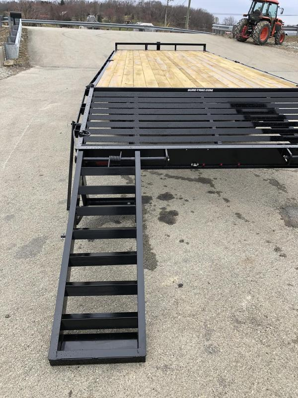 """2019 Sure Trac 20+4' Beavertail Deckover Trailer 15000# * ST102204SDDO-B-150 * 4"""" CHANNEL STAND UP RAMPS"""