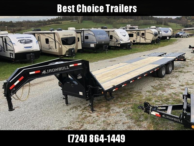 2019 Ironbull 102x27+5' Gooseneck Beavertail Flatbed Deckover 22000# GVW * FULL WIDTH RAMPAGE RAMPS * PIERCED FRAME * SPARE TIRE * UNDER FRAME BRIDGE