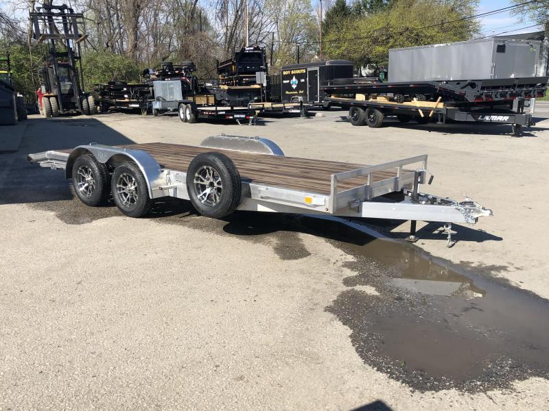 2018 H&H 7x18' Aluminum Car Hauler 7000# GVW ALUMINUM WHEELS HEAVY FRAME * SPARE MOUNT * EXTRUDED BEAVERTAIL * CLEARANCE + FREE SPARE TIRE
